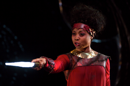 """As Iphigenia in """"Iphigenia Under the Stars"""". Photo Credit: Christopher Ash and T Charles Erickson."""