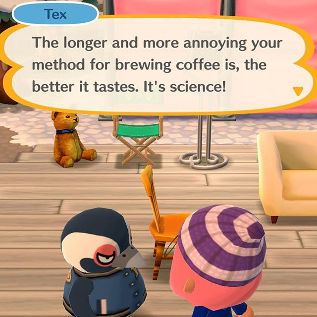 Remember that one episode we talked about ☕️. This is pretty much on point. Do you like fancy pour over coffee or are you like @cgbsrule? She insists that someone should make her cup of coffee. #coffee #game #gamer #ios #animalcrossing #acpc #pocketcamp #nintendo