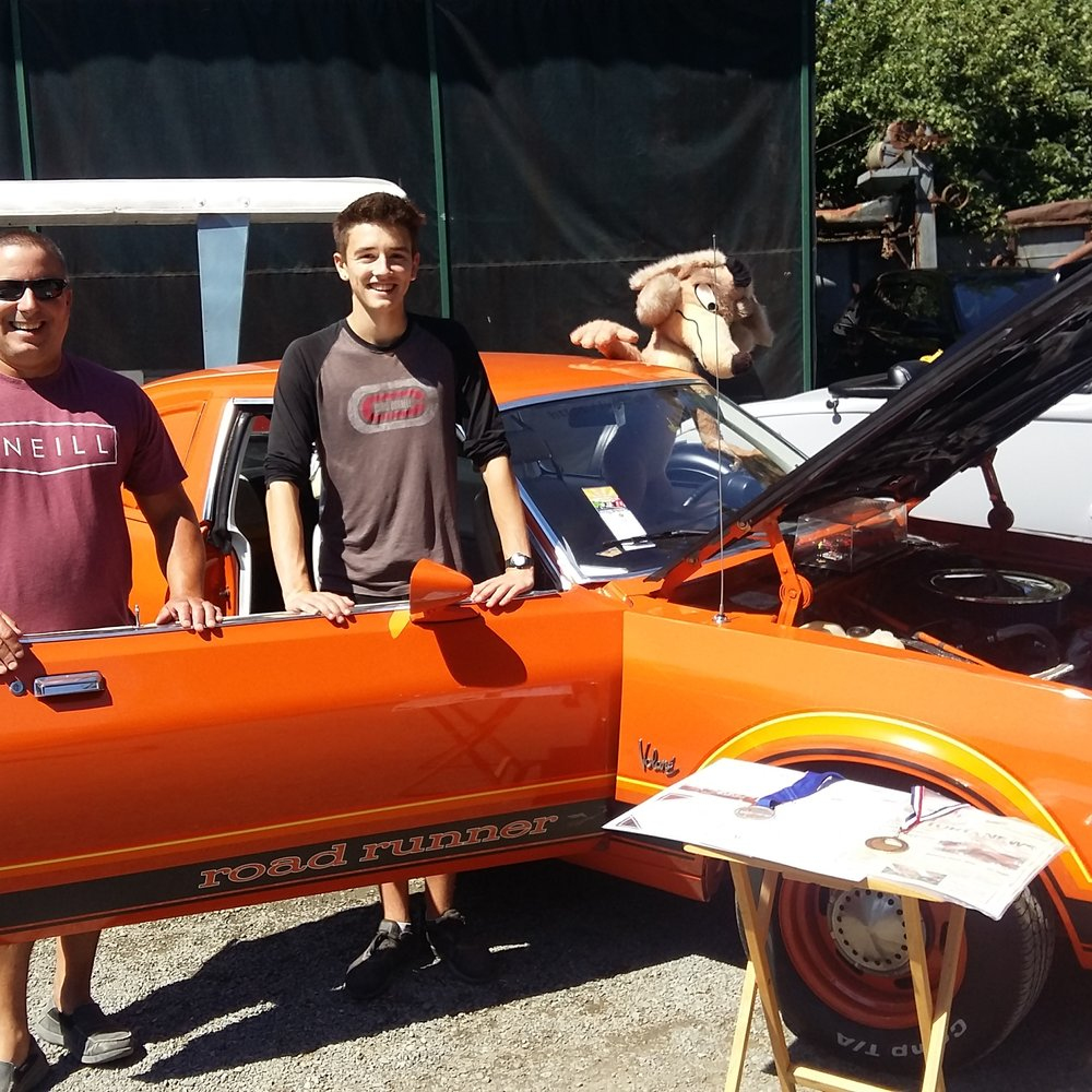 Tony and his teacher Kevin Blecic at a local car show