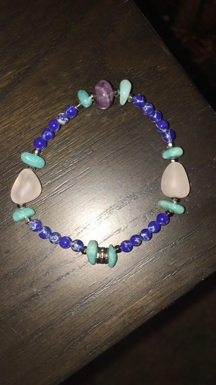 Lapis, rose quartz, amazonite