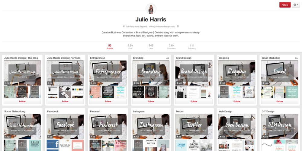 Julie Harris - Branded Pinterest Boards