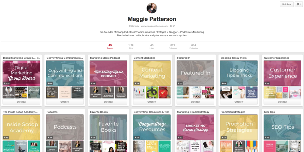 Maggie Patterson - Branded Pinterest Boards