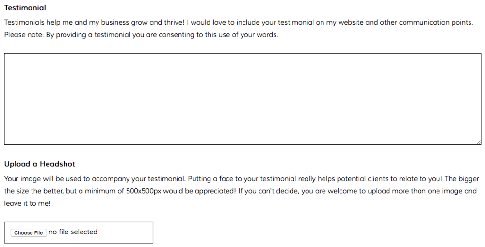Brand IT Girl - Client Feedback Form Screenshot - How I ask for Testimonials