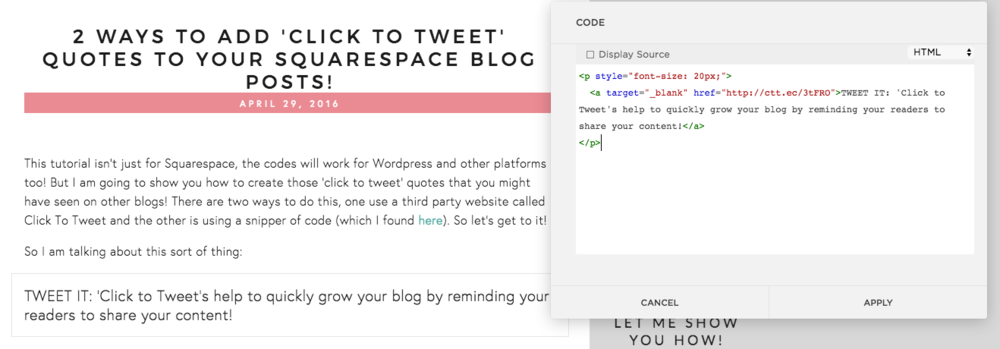 2 ways to add click to tweet quotes to your squarespace blog posts you will need to go into the blog post editor and hover over the location of the new click to tweet quote choose the code content block ccuart Gallery