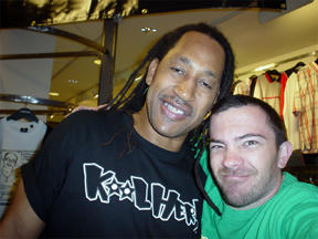 The mighty Kool Herc asked Peyote Cody to spin at the Sedgwick & Cedar opening. Fox Hills Mall. CA.