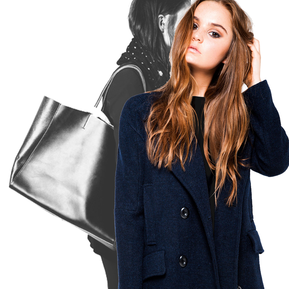 A classic peacoat and tote are part of The Design Republik capsule wardrobe. Collage C. Mueller