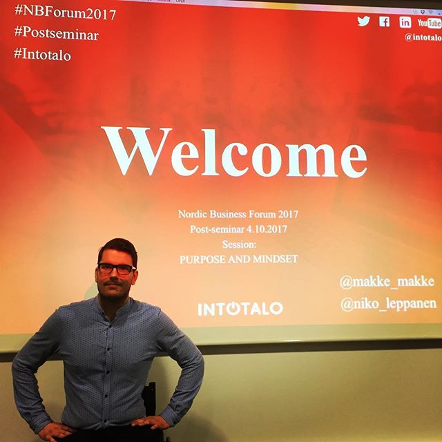 Tänään itseluottamus.com Nordic Business Forumin post-seminaaria fasilitoimassa yhdessä Intotalon kanssa! #itseluottamus #nbf #nordicbusinessforum2017  #vuodenbisnespukeutuja2017