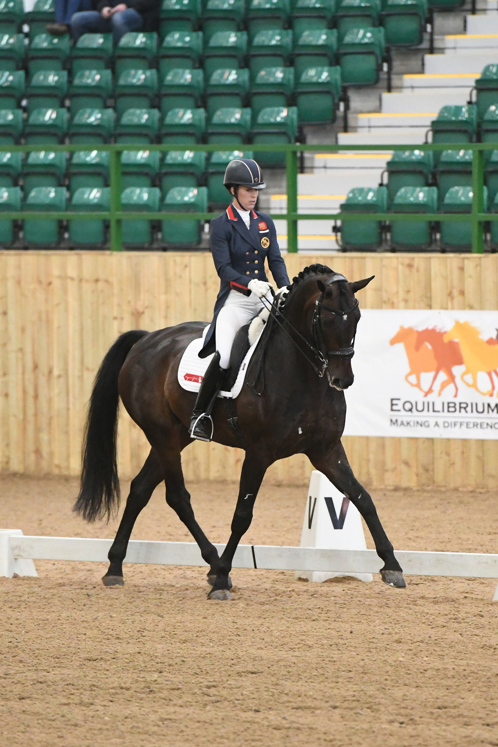 Charlotte Dujardin riding Hawkins Delicate wins the Young Horse Prix St George Qualifier