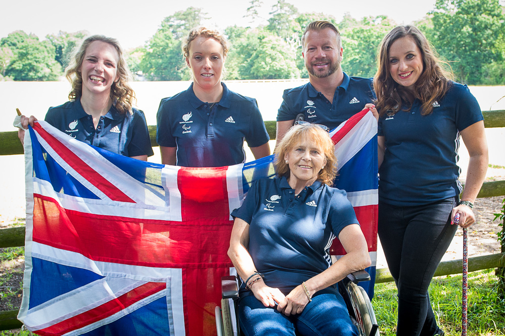 The UK's super squad (left to right): Sophie Christiansen OBE, Sophie Wells MBE, Anne Dunham MBE, Lee Pearson CBE and Natasha Baker MBE