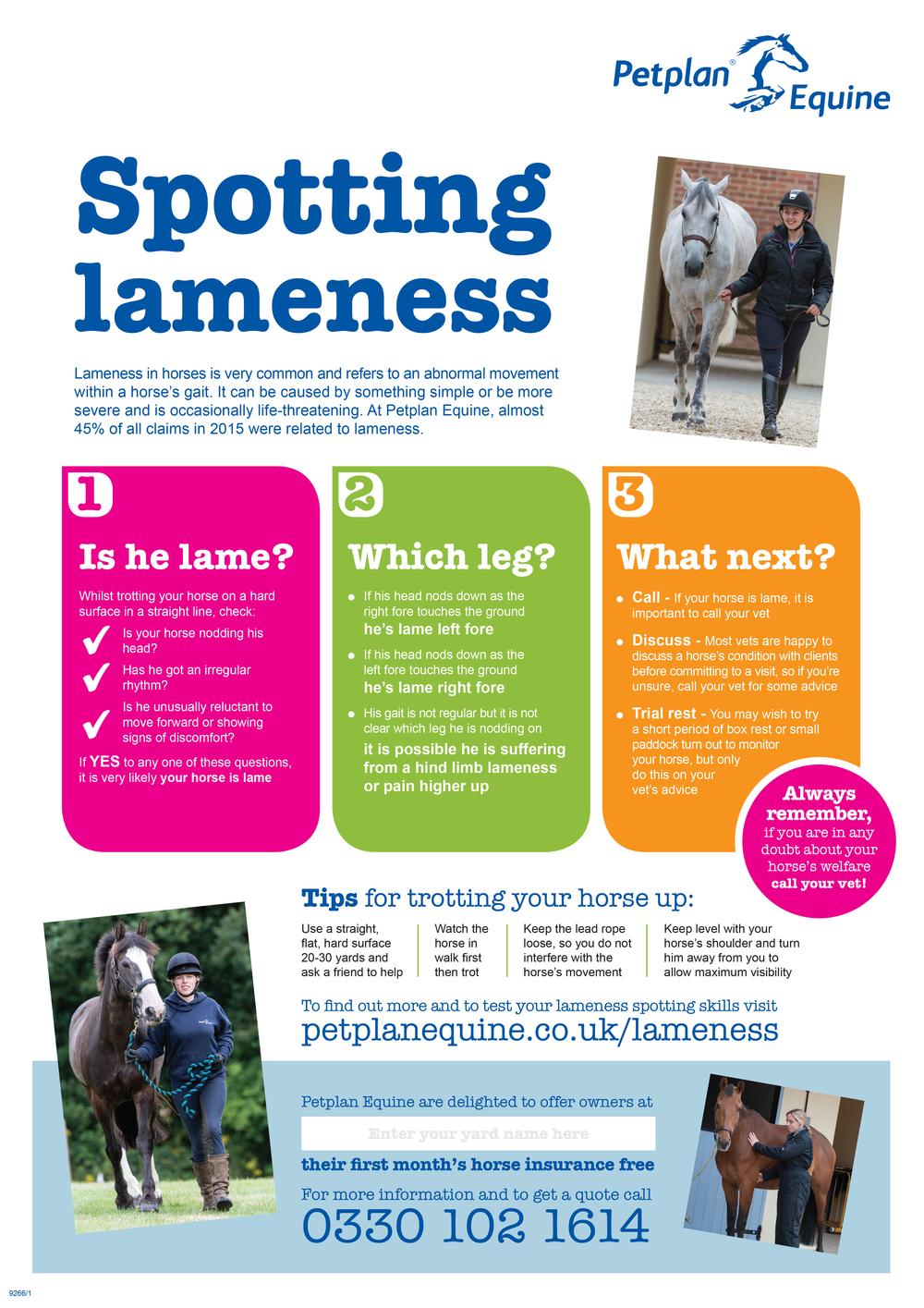 Petplan's handy poster will help you spot lameness fast