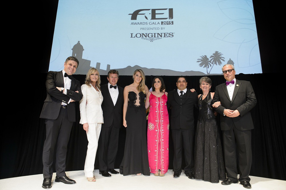 FEI Awards 2015 winners from left to right: Longines' Vice President and Head of International Marketing Juan-Carlos Capelli, Hollywood actress Bo Derek, Reem Acra Best Athlete Boyd Exell (AUS), Longines Rising Star Jessica Mendoza (GBR), Against All Odds Oriana Ricca Marmissolle (URU), Best Groom Jose Eduardo (Eddie) Garcia Luna (USA), FEI Solidarity Anne-Rose Schoen Les Chevaux qui pansent les plaies (Horses that heal wounds) (HAI) and FEI President Ingmar de Vos.  (FEI/Richard Juilliart)