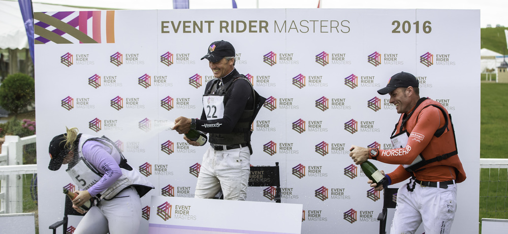 Fun on the final ERM podium at the Barbury International Horse Trials - Andrew Nicholson , Paul Tapner and Gemma Tattersall. (Credit: Libby Law Photography & Eventridermasters.tv)