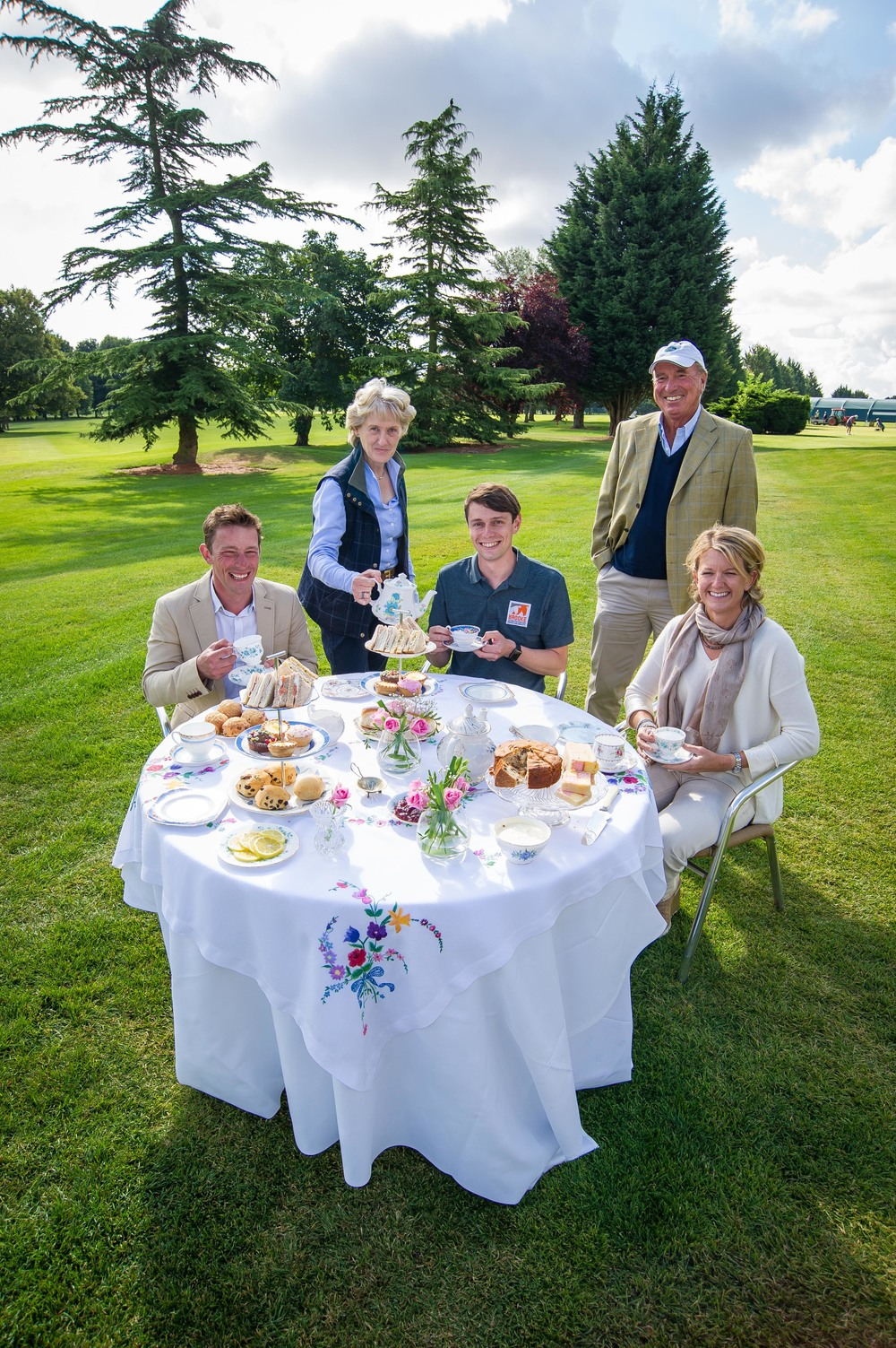 (Left to right) Simon Grieve, event rider,Elizabeth Inman, Event Director for Land Rover Burghley Horse Trials,Jamie Whear, Media Officer at Brooke,Captain Mark Phillips, cross country course Designer,Sarah Cohen, event rider  (Photo: Land Rover Burghley Horse Trials)