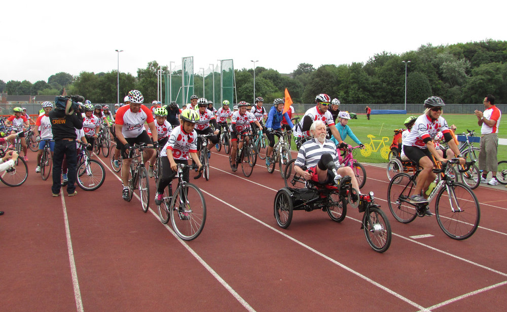 Cyclists set off from the Princess Mary Stadium in West Yorkshire on Sunday 21 August