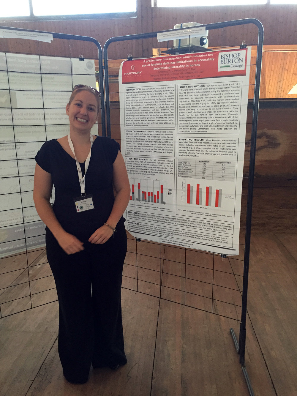 Hartpury Masters student, Tracy Bye, standing proudly next to her research poster at the conference