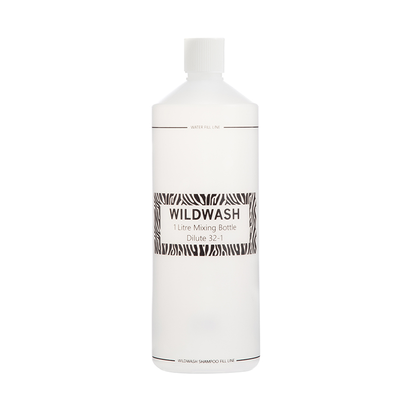 Using the mixing bottle the shampoo can be dilluted at a 32 to 1 ratio