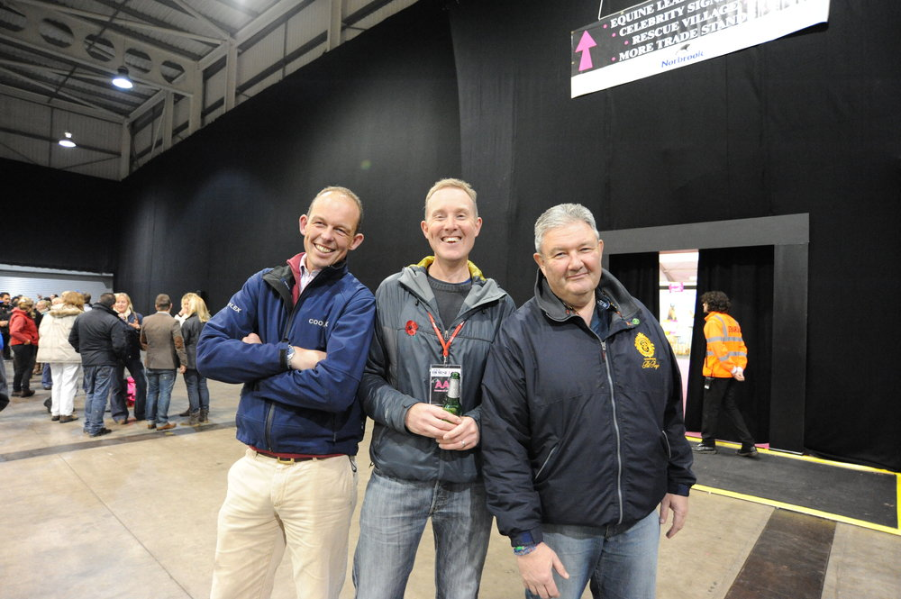 Peter Morris (right) with Your Horse photographer Matt Roberts and fellow 2015 Your Horse Live commentator Jonty Evans