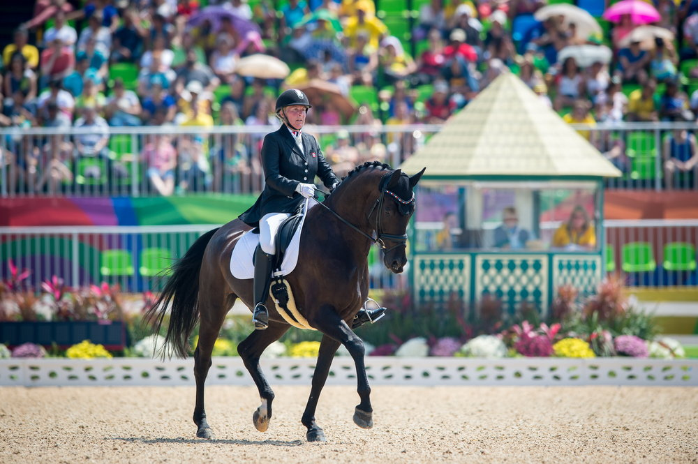 Norway's Ann Cathrin Lubbe and Donatello take the top spot in the Grade III team test, Rio 2016 Paralympic Games day 1 (Credit: Jon Stroud/FEI)