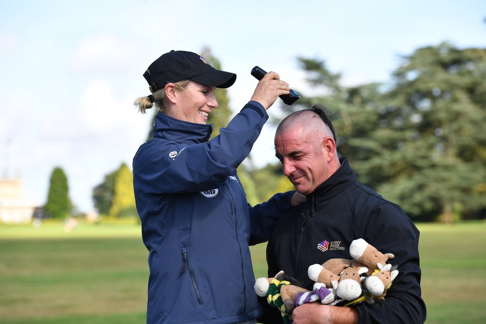 Zara Tindall shaves Spencer Sturmey's head in aid of Willberry Wonder Pony (Credit: eventridermasters.tv.)