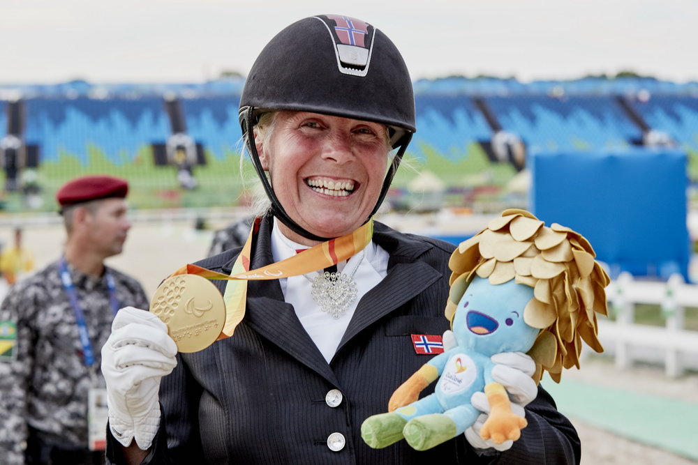 Norway's Ann Cathrin Lübbe wins the first Para-Equestrian medal at Rio 2016, taking gold in the Grade III Individual test on Donatello (Credit: Liz Gregg/FEI)