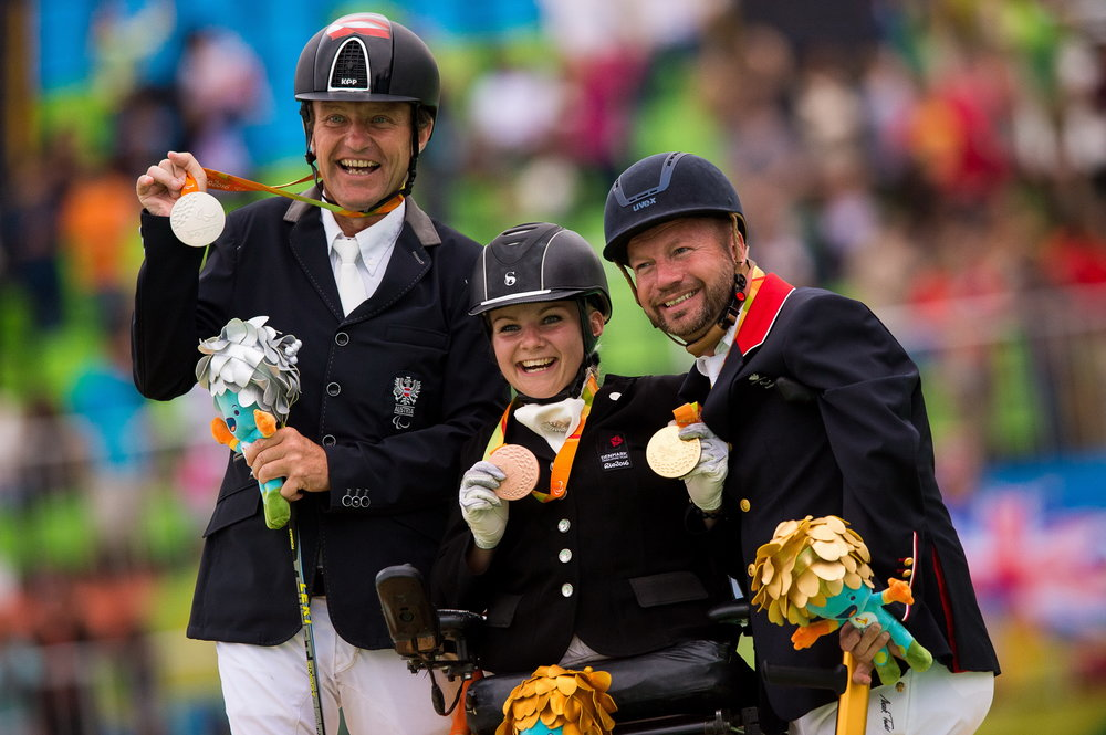 Rio 2016 Paralympics grade 1b freestyle podium L-R Pepo Puch (AUT) silver, Stinne Tange Kaastrup (DEN) bronze, Lee Pearson (GBR) gold (Credit: Jon Stroud/FEI)