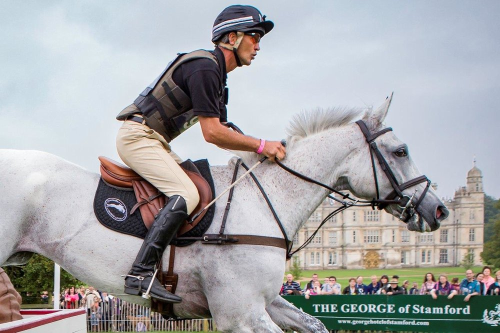 Andrew Nicholson riding the great eventer Avebury at Burghley Horse Trials (Credit: Libby Law Photography)