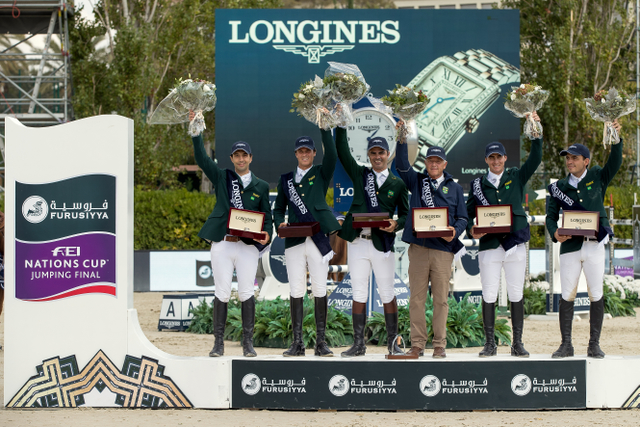Team Brazil's Rodrigo Pessoa, Stephan de Freitas Barcha, Yuri Mansur and Pedro Veniss, led by Chef d'Equipe Caio Carvalho, won the Longines Challenge Cup to bring the Furusiyya FEI Nations Cup™ Jumping Final 2016 to a close at the Real Club de Polo in Barcelona (ESP) today. (Dirk Caremans/FEI)