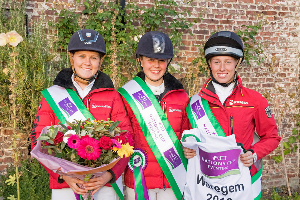 The victorious German team at Waregem (BEL), the eighth and penultimate leg of the 2016 FEI Nations Cup™ Eventing. L-R Leonie Kuhlmann (Cascora), Stephanie Böhe (Haytom), Franziska Keinki (Lancaster 149) (Credit: Eventing Photo/FEI)