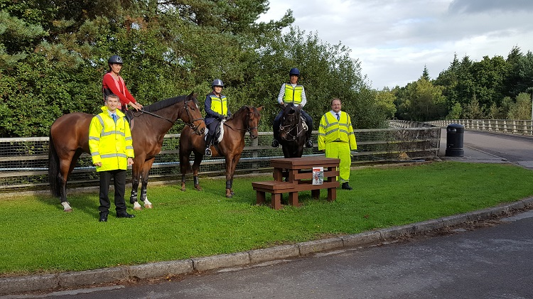 The official opening of the new horse mounting blocks (Pic: Highways England)