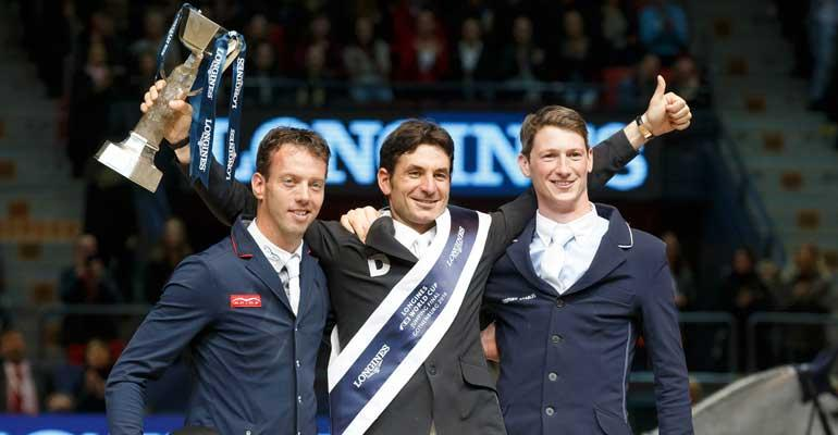 Switzerland's Steve Guerdat (centre) made it a back-to-back double of Longines FEI World Cup™ Jumping victories at Gothenburg (SWE) this year. The Netherlands' Harrie Smolders (left) finished second and Germany's Daniel Deusser (right) finished third. All three riders will line out at the opening leg of the new season in Oslo (NOR) next week. (Credit: FEI/Dirk Caremans)
