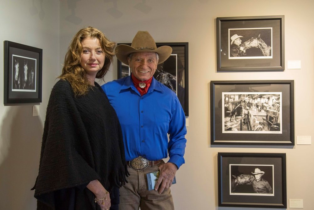 Monty Roberts and Lucy Sewill at Horses and Humans photography Exhibition at Sculpure by the Lakes