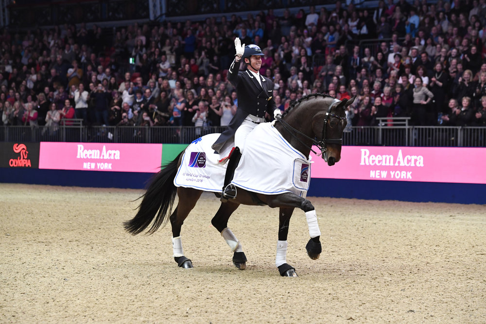Carl Hester riding Nip Tuck wins FEI World Cup Dressage Grand Prix at Olympia