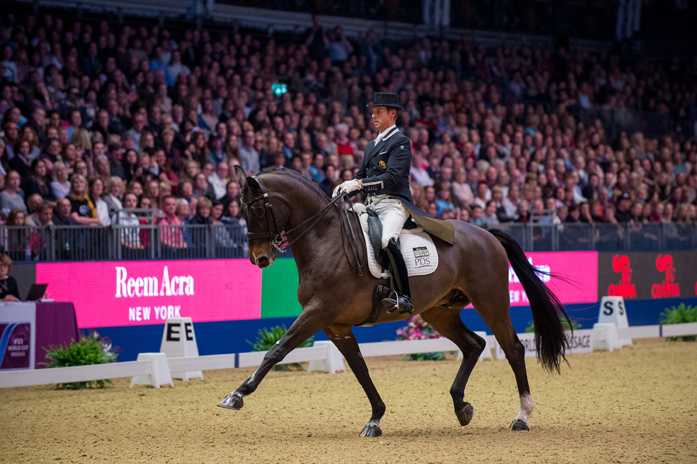 Great Britain's Carl Hester won the fifth leg of the FEI World Cup™ Dressage 2016/2017 Western European League with Nip Tuck at London Olympia (GBR) last night. (Credit: Jon Stroud Media/FEI)