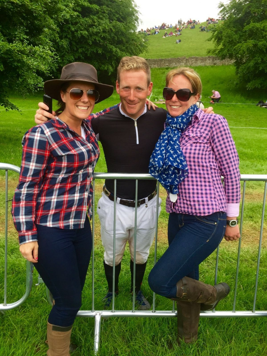 Lucy and Sarah-Jane with eventer Oliver Townend