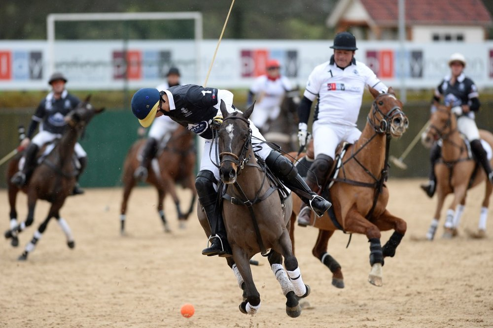 Astra (in black) beat Playnation in the final of the Playnation Arena Polo Masters Tournament. (Credit: Images of Polo)