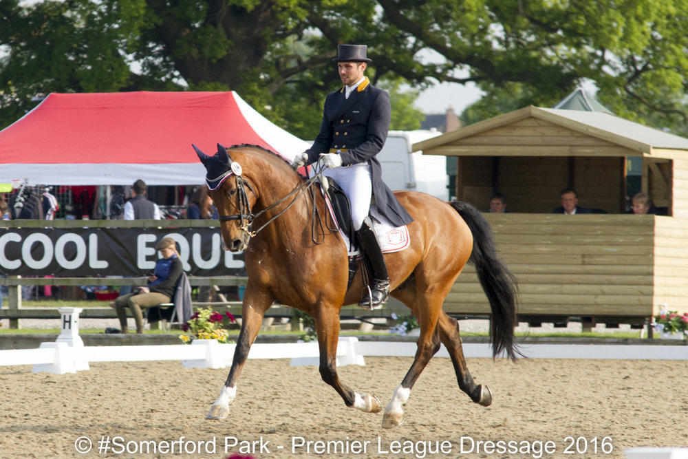 Charlie Hutton in action at the 2016 Somerford Park League Dressage