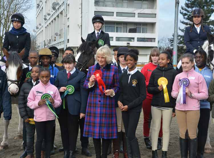 HRH The Duchess of Cornwall enjoys a visit to the Ebony Horse Club