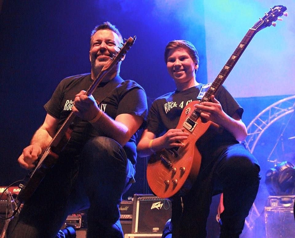 Daz performing with Senna Weeks, a 14-year-old solo guitarist/vocalist and lead guitarist with Better Than Expected, who will be performing at the 'Rock 4 Charity'