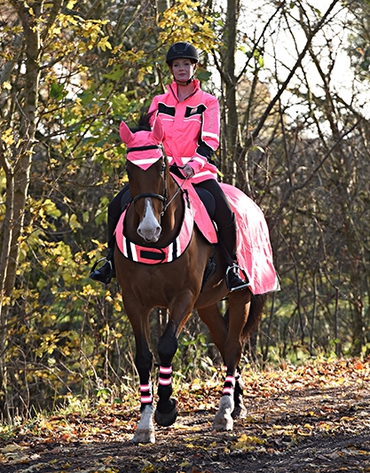 Products in the Equisafety range like this Waterproof Hi Vis Padded Aspey Jacket in Pink are the perfect way to ensure you're seen on the roads