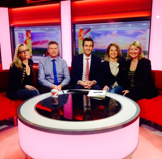 Claire (far left) and Dawn (far right) appeared on the BBC alongside Alan Hiscox from the BHS (second from left), Laura Thoroughgood (second from right) and the BBC's Ben Thompson (centre)