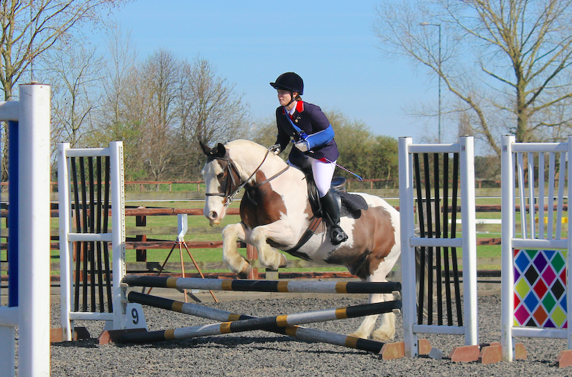 Jumping with RDA horse, Rolo, at the College of West Anglia, Cambridge in March 2017. Rolo is a 14.2hh cob who's getting on in years but is enormous fun to ride.