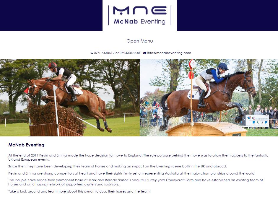 McNab eventing website
