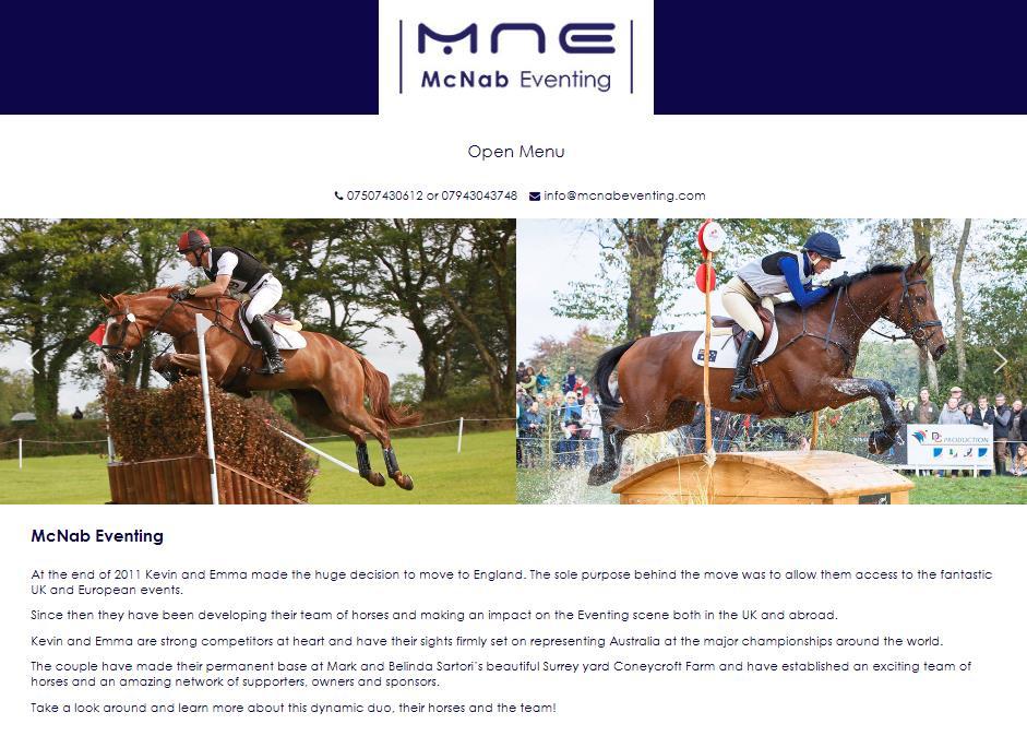 McNab eventing website