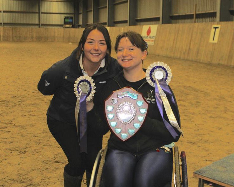 With Nett Wight, one of Cambridge Vaulting Club's brilliant lungers, at the British Championships