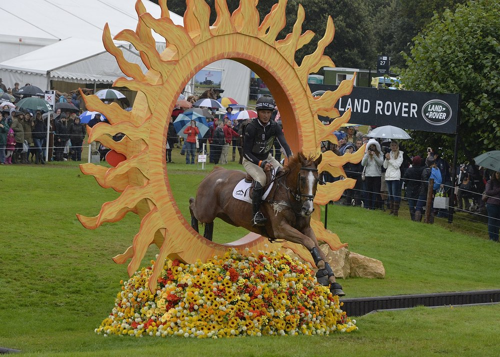 Andrew nicholson riding NEREO at The Land Rover Burghley Horse Trials