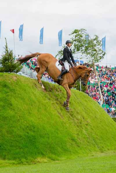 William Whitaker and Glenavadra Brilliant take on the Hickstead Derby Bank  pic credit: Craig Payne