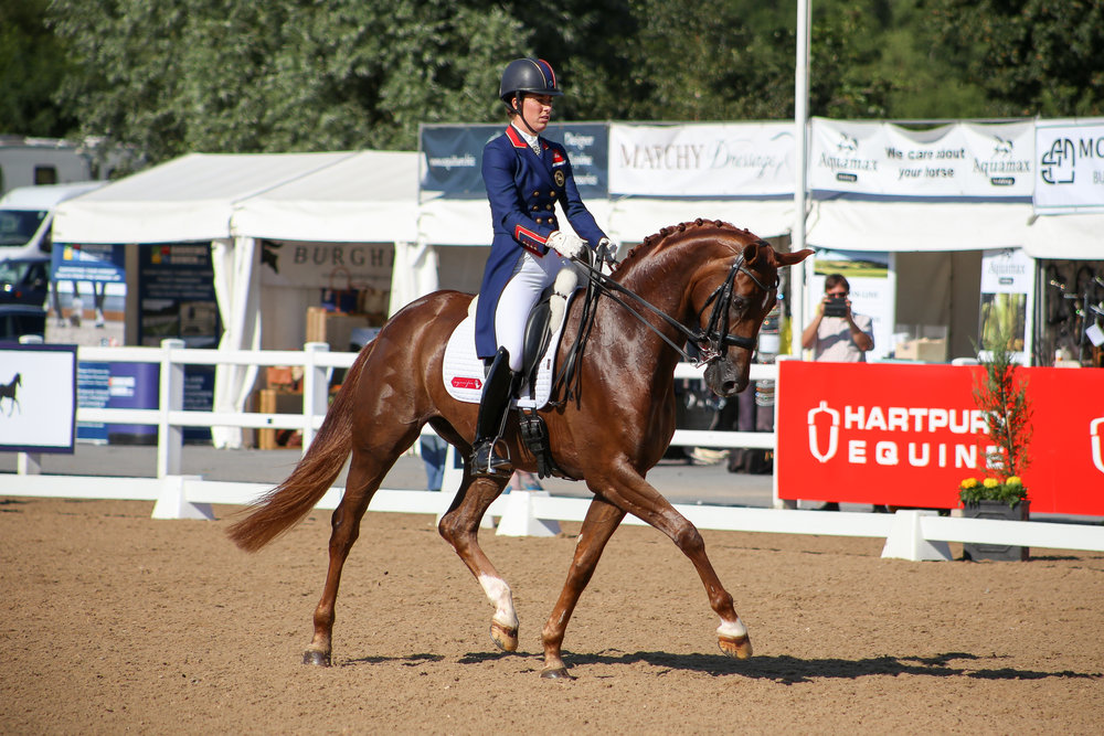 Charlotte Dujardin riding Mount St John Fairytale in the Fairfax FEI Prix St George