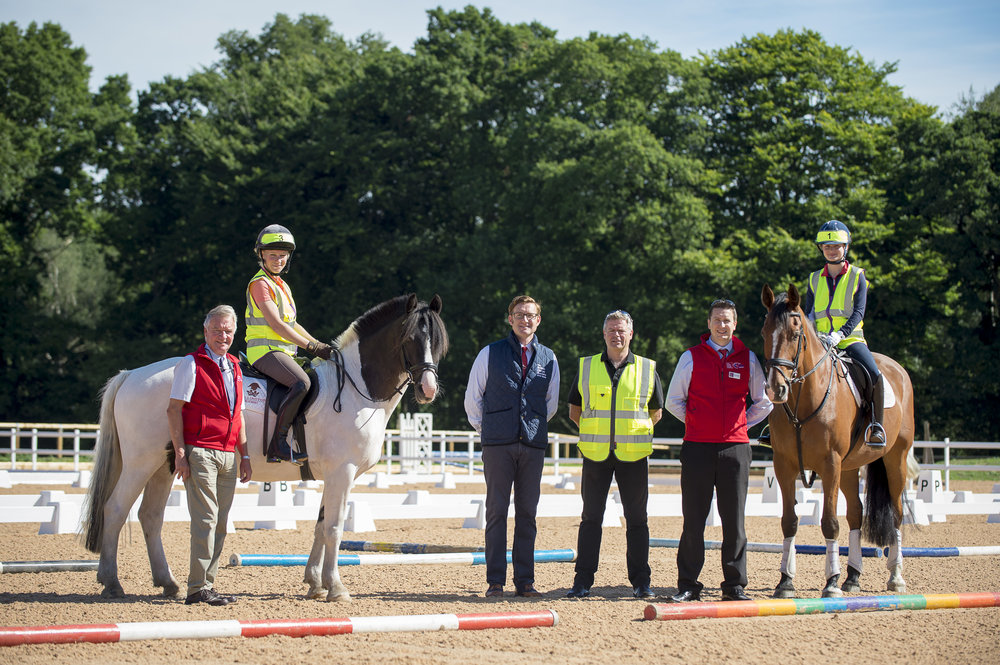 L-R BHS Fellow Yogi Breisner MBE,Sports Broadcaster, Lizzie Greenwood-Hughes, BHS Chairman David Sheerin, BHS Director of Safety, Alan Hiscox, BHS Director of Education, Alex Copeland and International Dressage Champion Phoebe Peters. At Wellington Riding, in Hampshire.