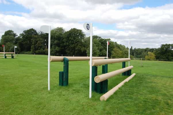The oxer is the first fence of the Rolex Combination