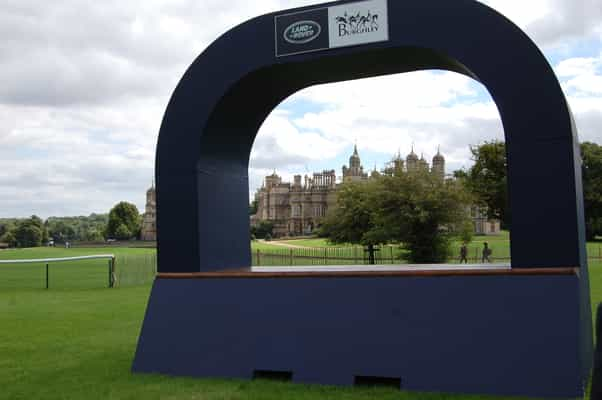 The final fence has an awesome view of Burghley House